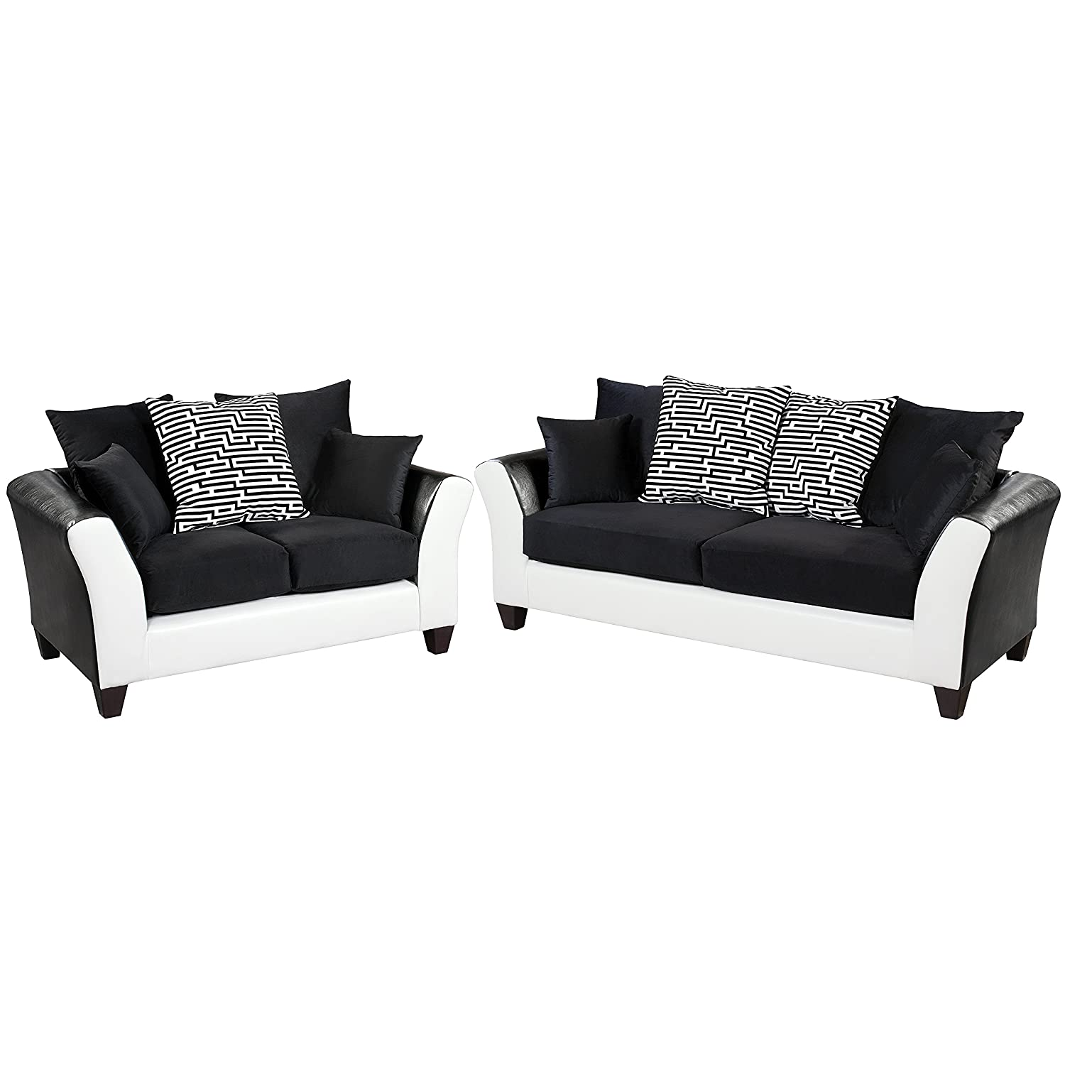 Flash Furniture RS-4173-02LS-SET-GG Riverstone Implosion Velvet Living Room Set - Black