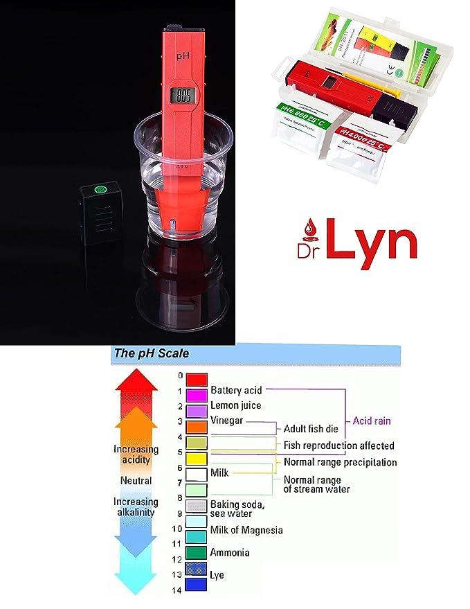 Dr. Lyn Medidor Digital de PH pluma probador de agua (0 - 14 pH) para Easy Home Garden sistema de crecimiento hidropónico acuario cerveza vino piscina suelo ...