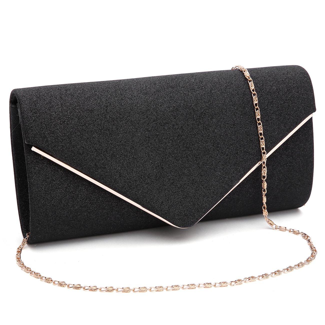 86e9ca4398bb Gesu womens shining envelope clutch purses glitter evening bag handbags for  wedding and party black handbags