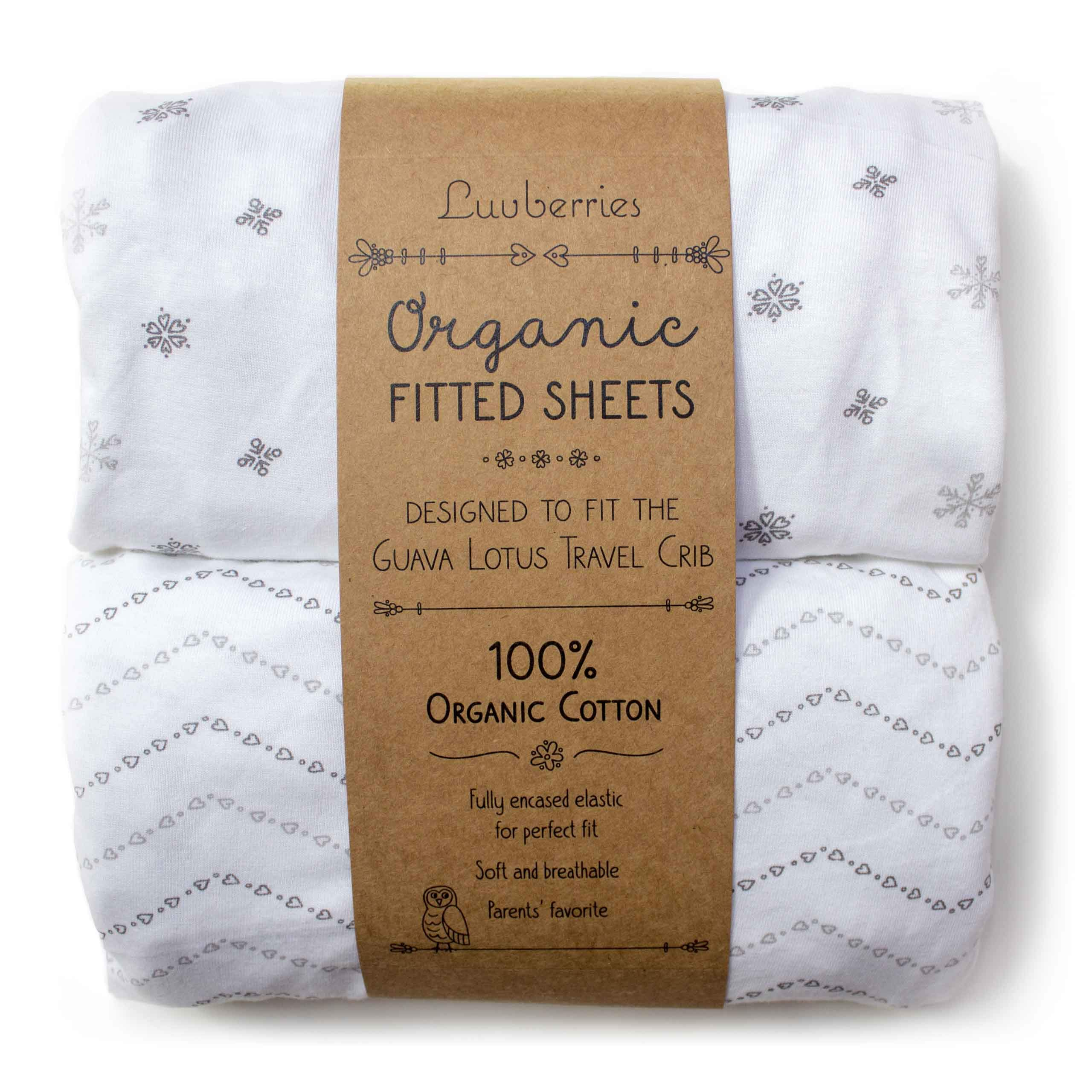 Guava Lotus Travel Crib Sheets (Set of 2) - 100% Organic Cotton Crib Sheets, Baby and Toddler, Fitted Crib Sheets, for Boys & Girls (for The New 4 TAB Mattress ONLY) by Luvberries