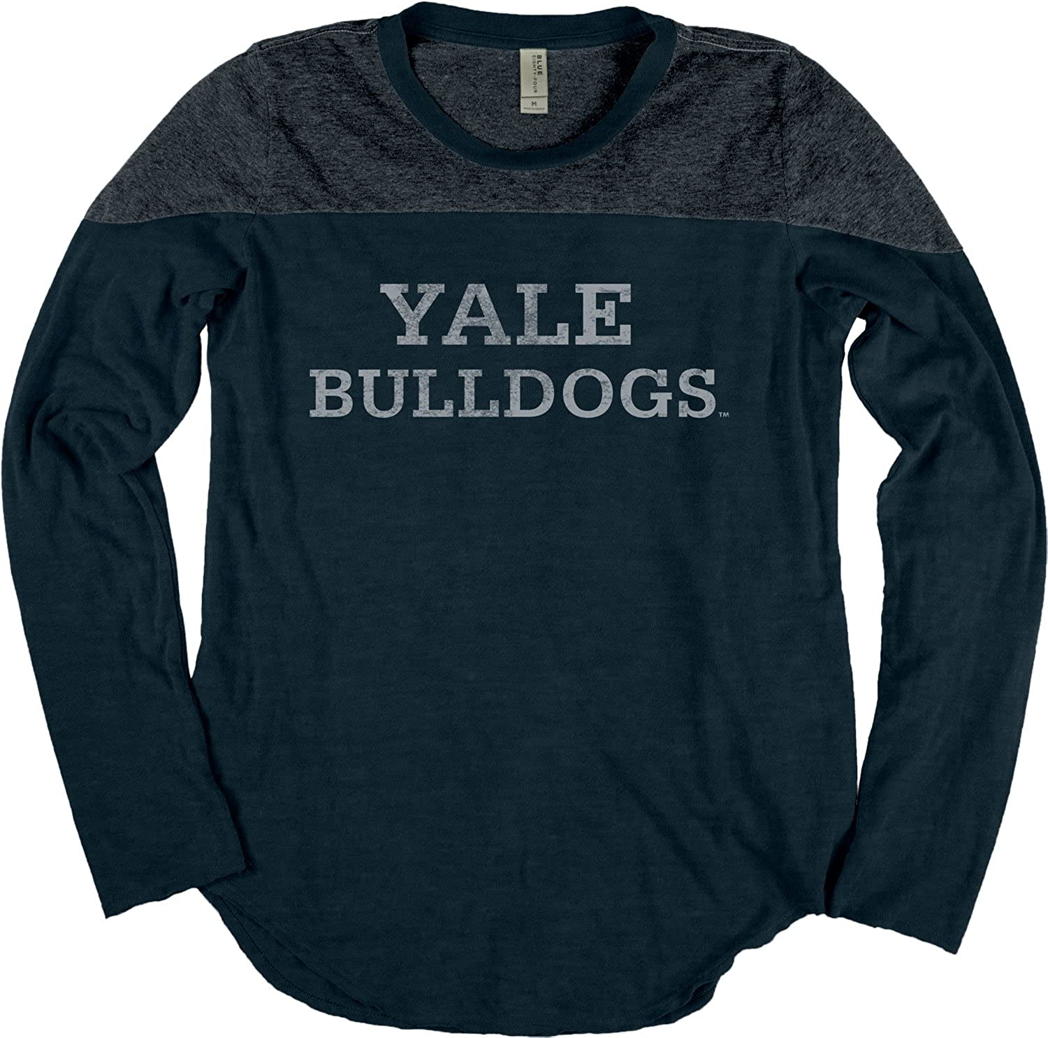 NCAA Yale Bulldogs Adult Women NCAA Womens Dyed Long Sleeve Yoke Tee,Medium,Indigo