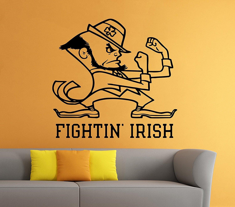 Fighting Irish Emblem Wall Vinyl Decal Sticker Notre Dame NCAA College Football Sport Home Interior Removable
