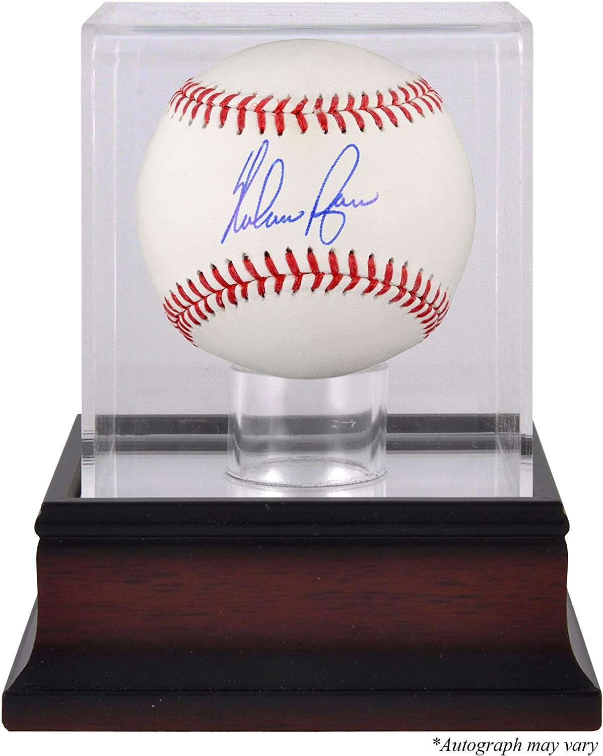 Nolan Ryan Texas Rangers Autographed Black Leather Baseball Fanatics Authentic Certified Autographed Baseballs