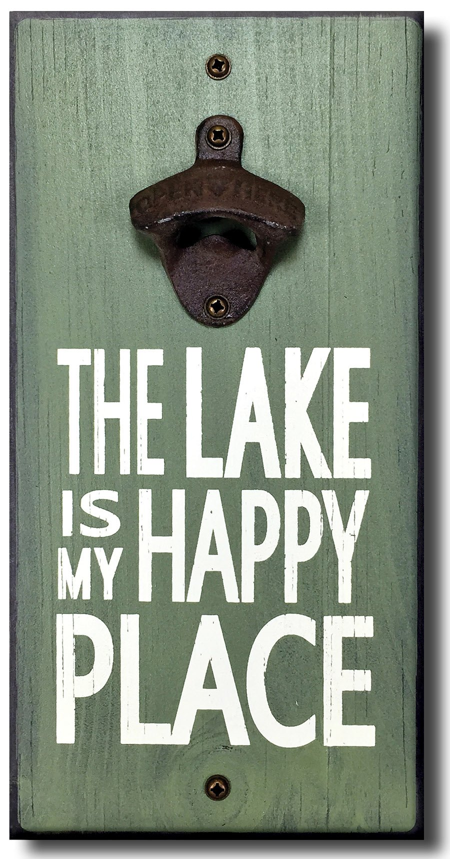 Lake is My Happy Place - Wooden Wall Mounted Bottle Opener by My Word!