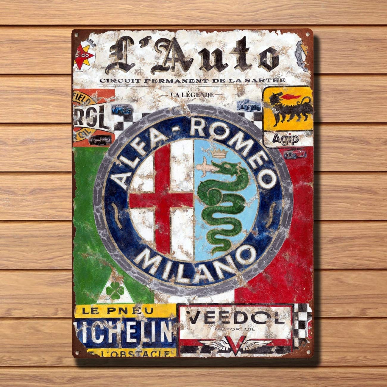 Metal Vintage Shabby-Chic Alfa Romeo Plaque Vintage Metal Tin Sign Retro Tin Plate Sign Wall Art Decor TIN Sign 7.8X11.8 INCH