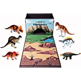 Dinosaur Toy Storage Box with 6 Dinasors Toys, Kids Play Mat Playset, Birthday Christmas Gift for Boys