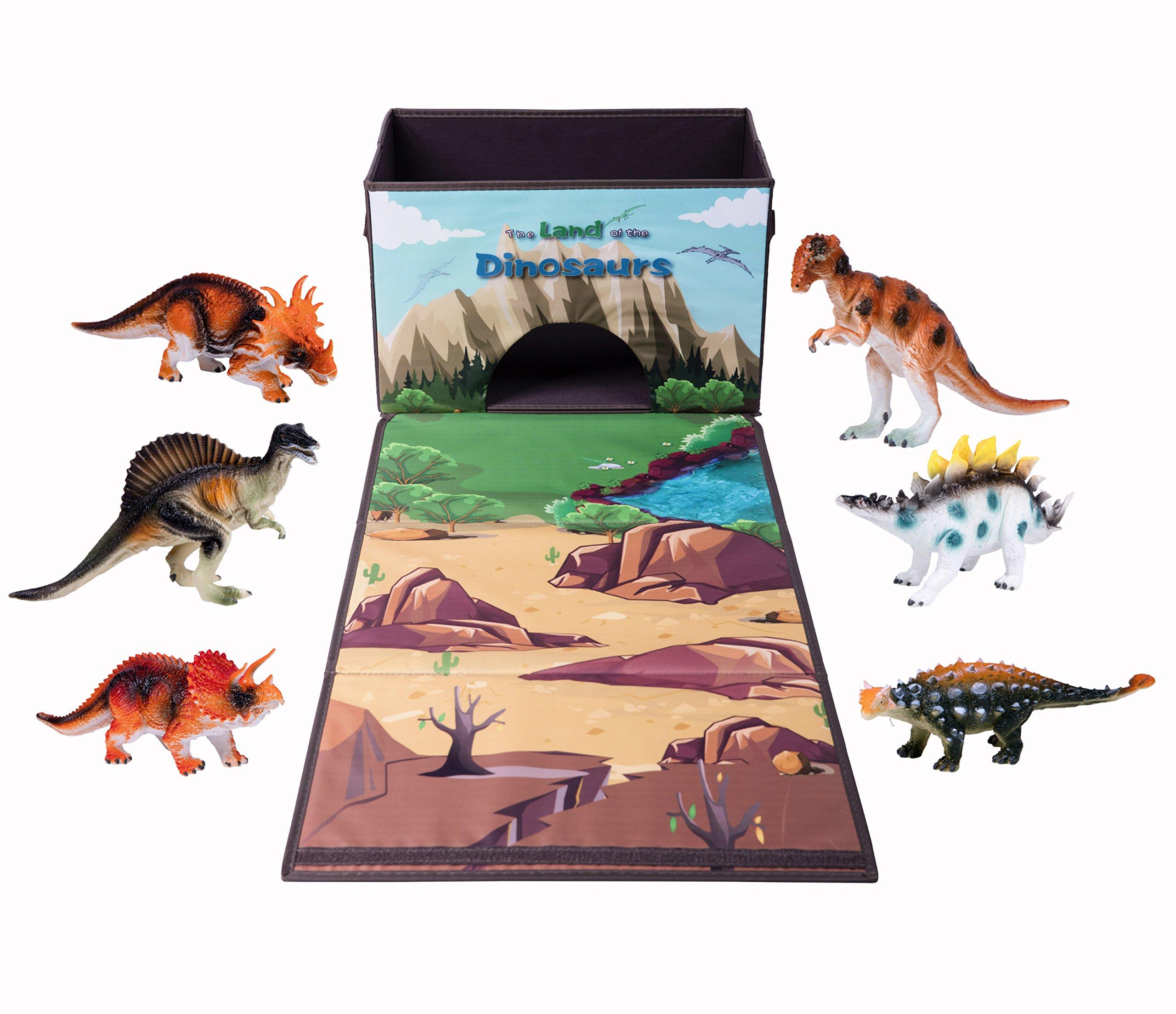 Dinosaur Toy Chest Storage Box Organizer, 6 Bonus Figures with Kids Play Mat Playset, Birthday Party Supplies
