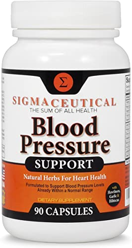 Premium Blood Pressure Support Formula - High Blood Pressure Supplement with Hawthorn Extract, Olive Leaf, Garlic Extract Hibiscus Supplement - Blood Pressure Medicine - 90 Capsules