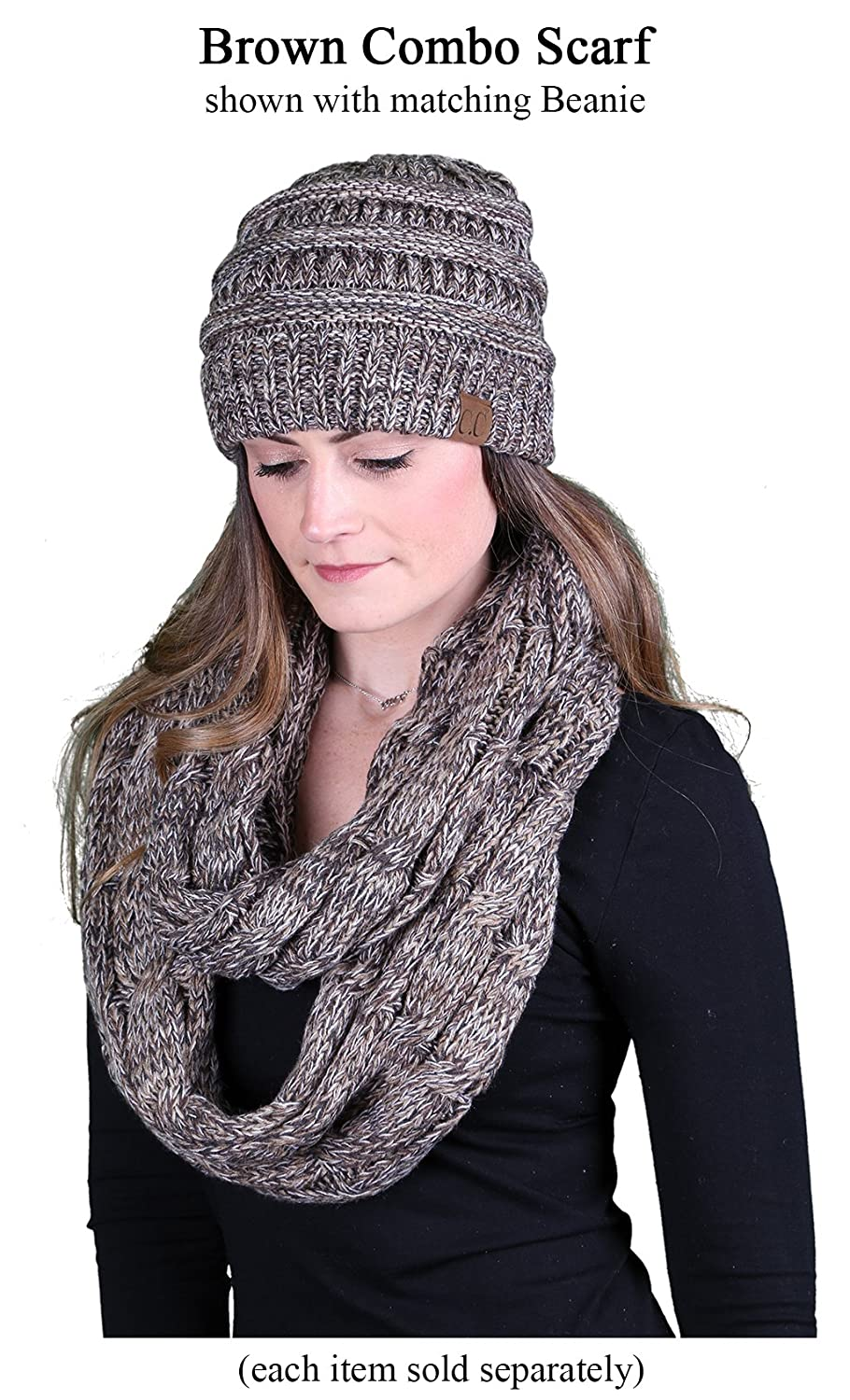 4c84bd84e Scarf Winter Warm Cable Knit Matching Ribbed Infinity Funky Junque'S C.C  Beanie Schals & Tücher