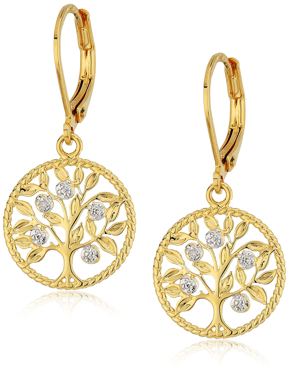Two-Tone Diamond Accent Tree of Life Lever back with Yellow Gold Overlay Dangle Earrings MCE7749TT-BRASS