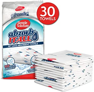 Simple Solution Abzorbitall Pet Mess Absorbent Towels | Multi-Surface Urine & Dog Poop Cleaning Sheets | 12 x 17 | 30 Towels