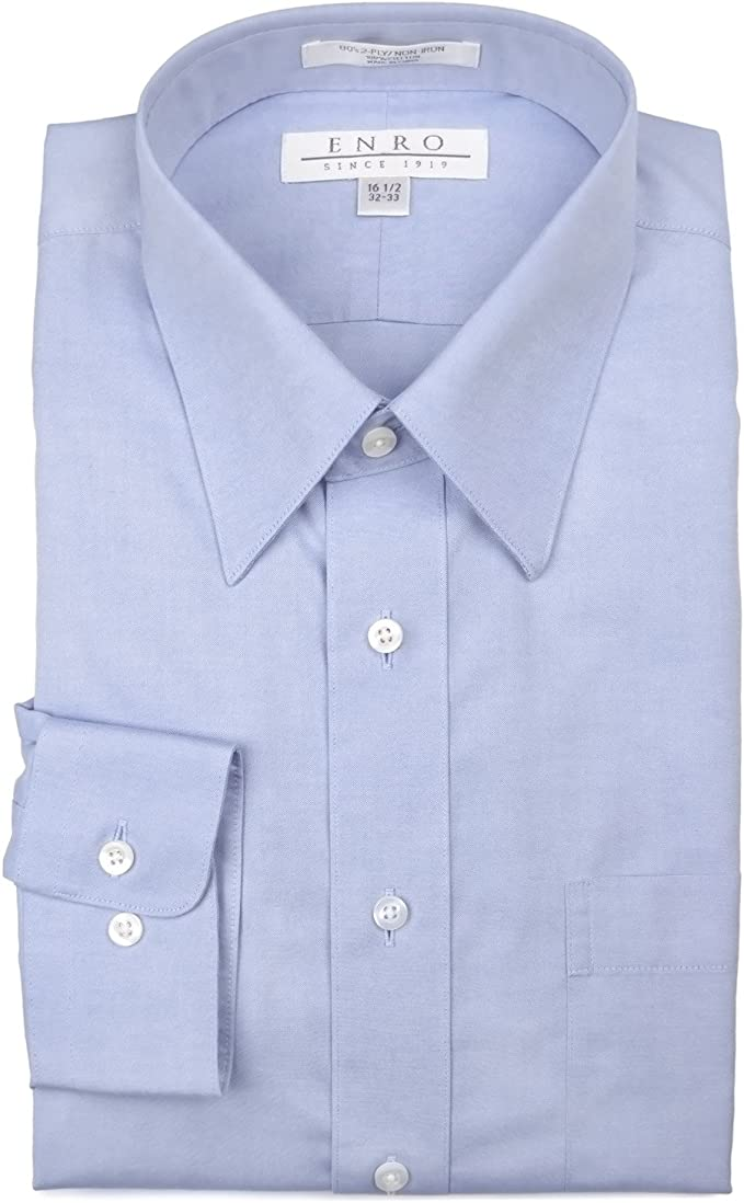 Enro Mens Long/ Classic Fit Solid Point Collar Dress Shirt
