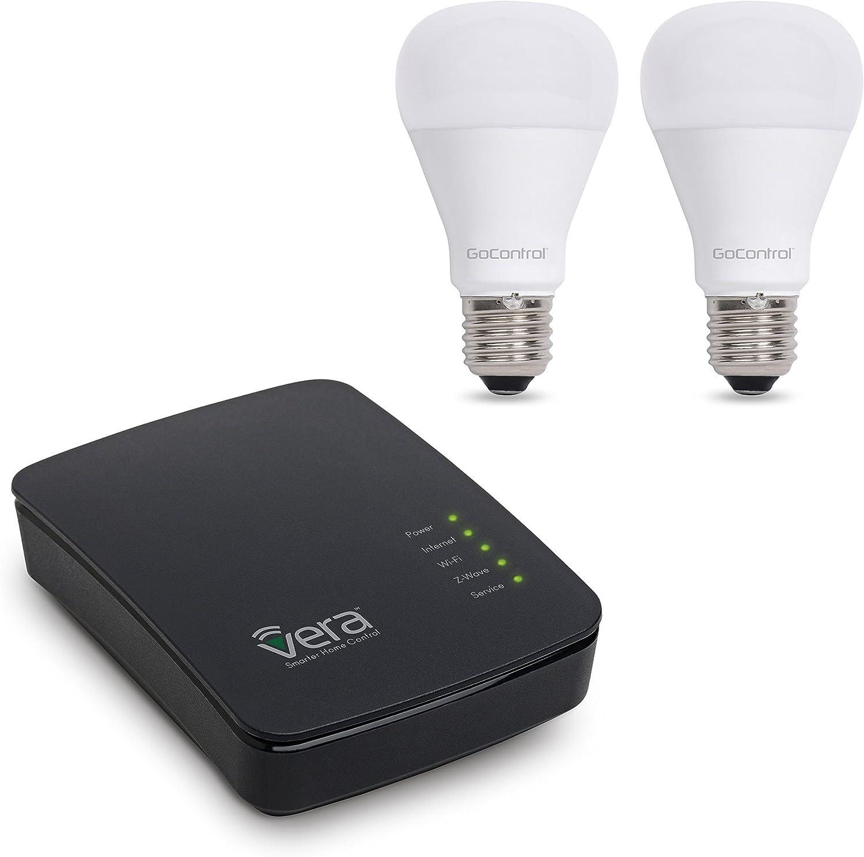 Vera Control Smart Lighting Essentials Starter Kit with VeraEdge Controller, 2 GoControl 60W Bulbs LB60Z-1, Compatible with Alexa