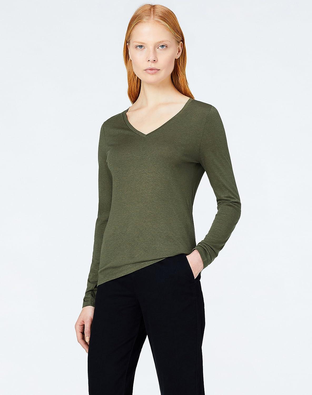 MERAKI T-shirt Scollo a V a Manica Lunga Donna