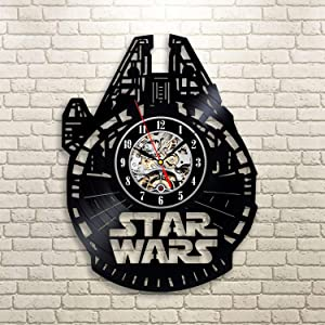 Wood Crafty Shop Star Wars Millenium Falcon Art Design Vinyl Record Wall Clock Gift for Him and Her Unique Wall Decor The Best Gift Idea for Any Event Birthday Gift, Wedding Gift