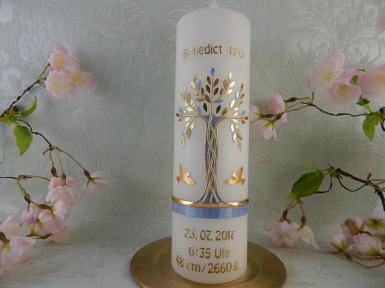 Geburtstagskerze Lebensbaum gold blau mit Name Datum Uhrzeit Gewicht Gr/ö/ße Taufkerze Junge M/ädchen 250//70 mm inkl Beschriftung