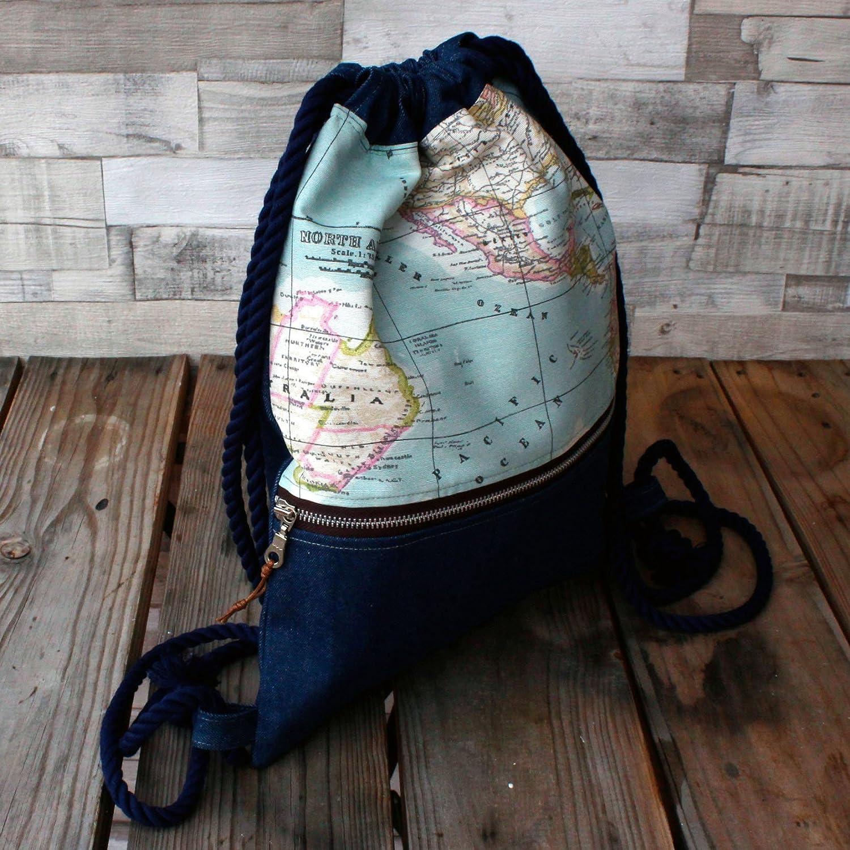 Mochila - La vuelta al mundo denim - Mochila con cordón náutico, hecha a mano en tela vaquera, lona y algodón, con bolsillo exterior cerrado con cremallera: ...