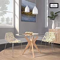 Cream Open Back Chrome Dining Side Chair Set of 2 Ivory Mid-Century Modern Contemporary Metal Upholstered Finish Stackable Water Resistant