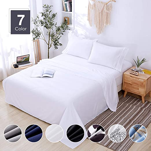 Pure White 100/% Brushed Microfiber Breathable Bed Sheet Set 4 Piece King Queen