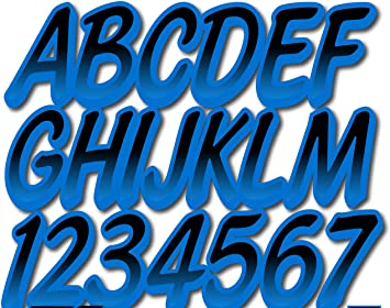 STIFFIE Whipline Solid Blue//White 3 Alpha-Numeric Registration Identification Numbers Stickers Decals for Boats /& Personal Watercraft