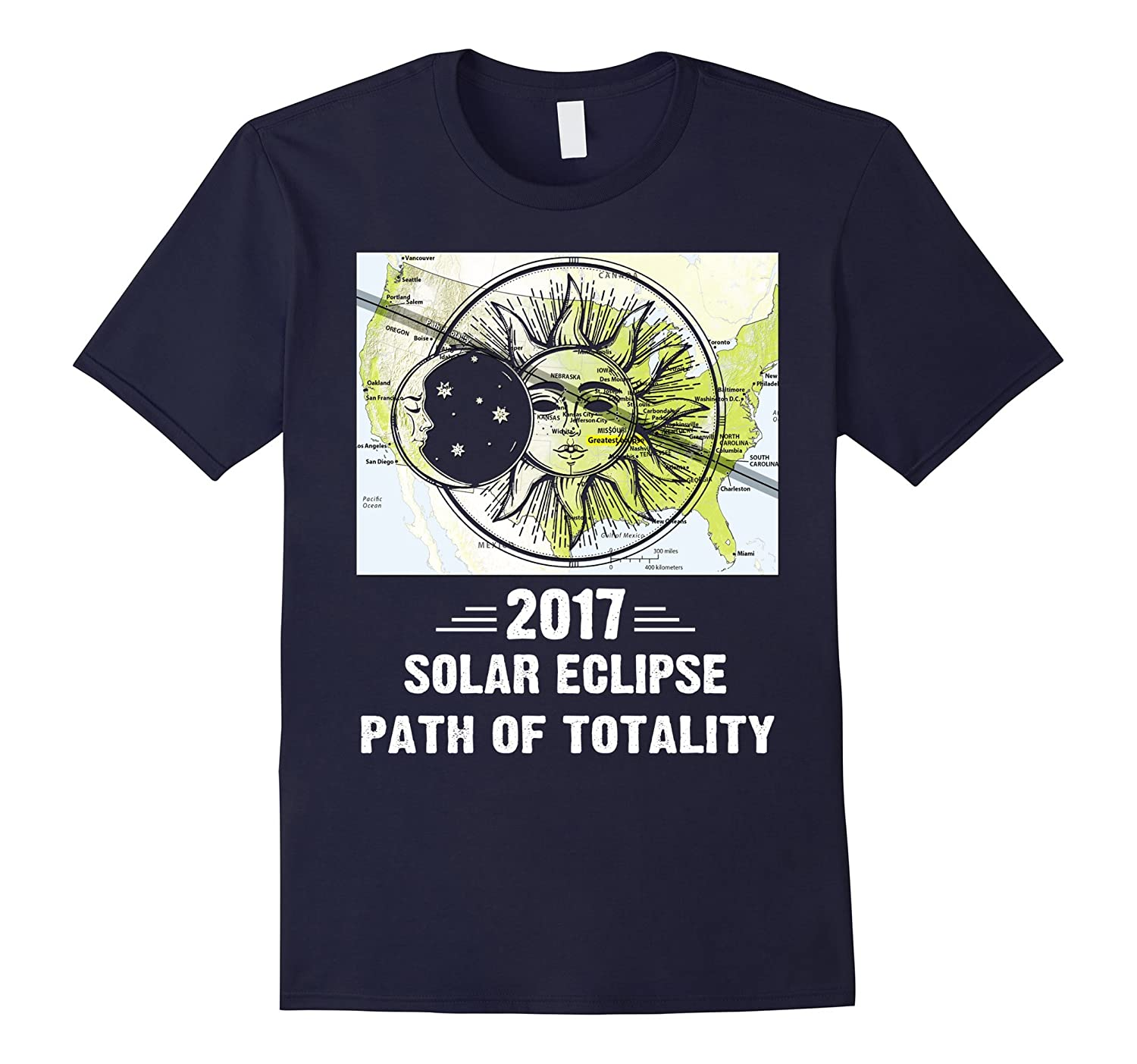 2017 Solar Eclipse Path Of Totality Map The USA T-Shirt-BN