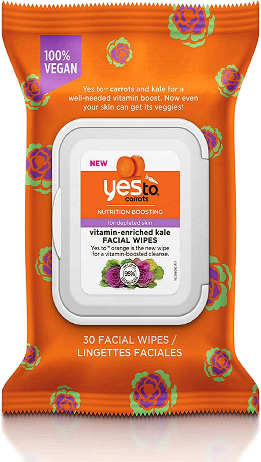 Yes To Carrots Nutrition Boosting Vitamin-Enriched Kale Facial Wipes - 30 Count | For Depleted Skin | Carrots and Kale For Nourished, Healthy-Looking Skin