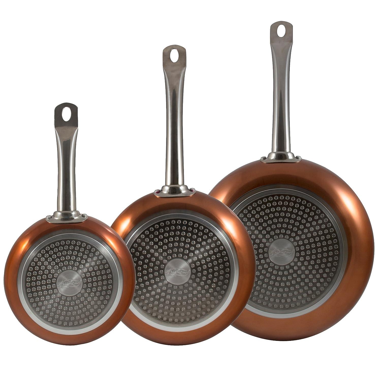 San Ignacio Professional Chef Copper Set de 3 sartenes + 4 recipientes herméticos + 4 Cuchillos de Cocina: Amazon.es: Hogar