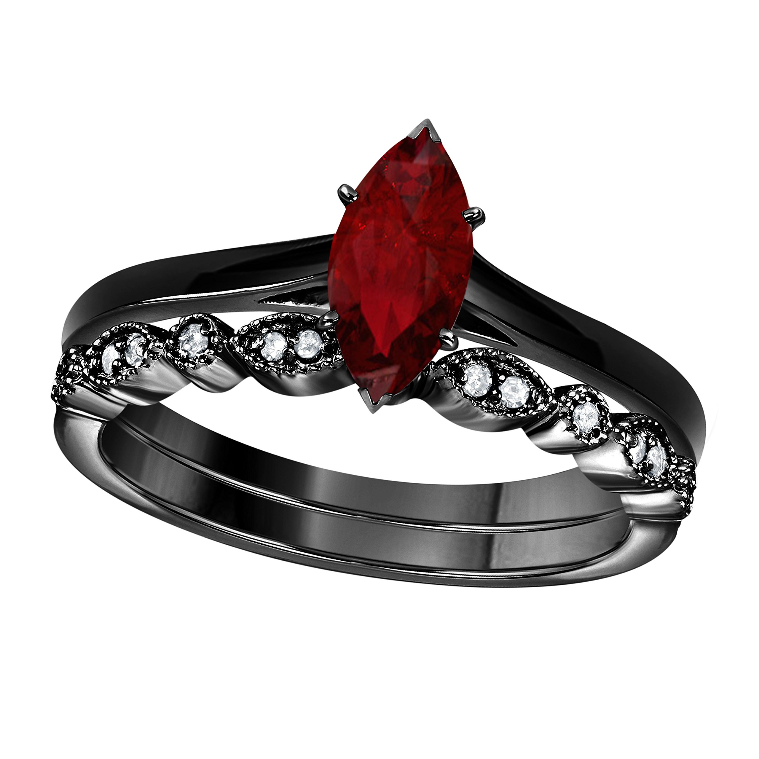DreamJewels 1.00 Ct Marquise Shape & Round Cut Red Ruby & White CZ Diamond 14k Black Gold Finish Alloy Art Deco Vintage Design Wedding Engagement Ring Sets Size 4.5-12