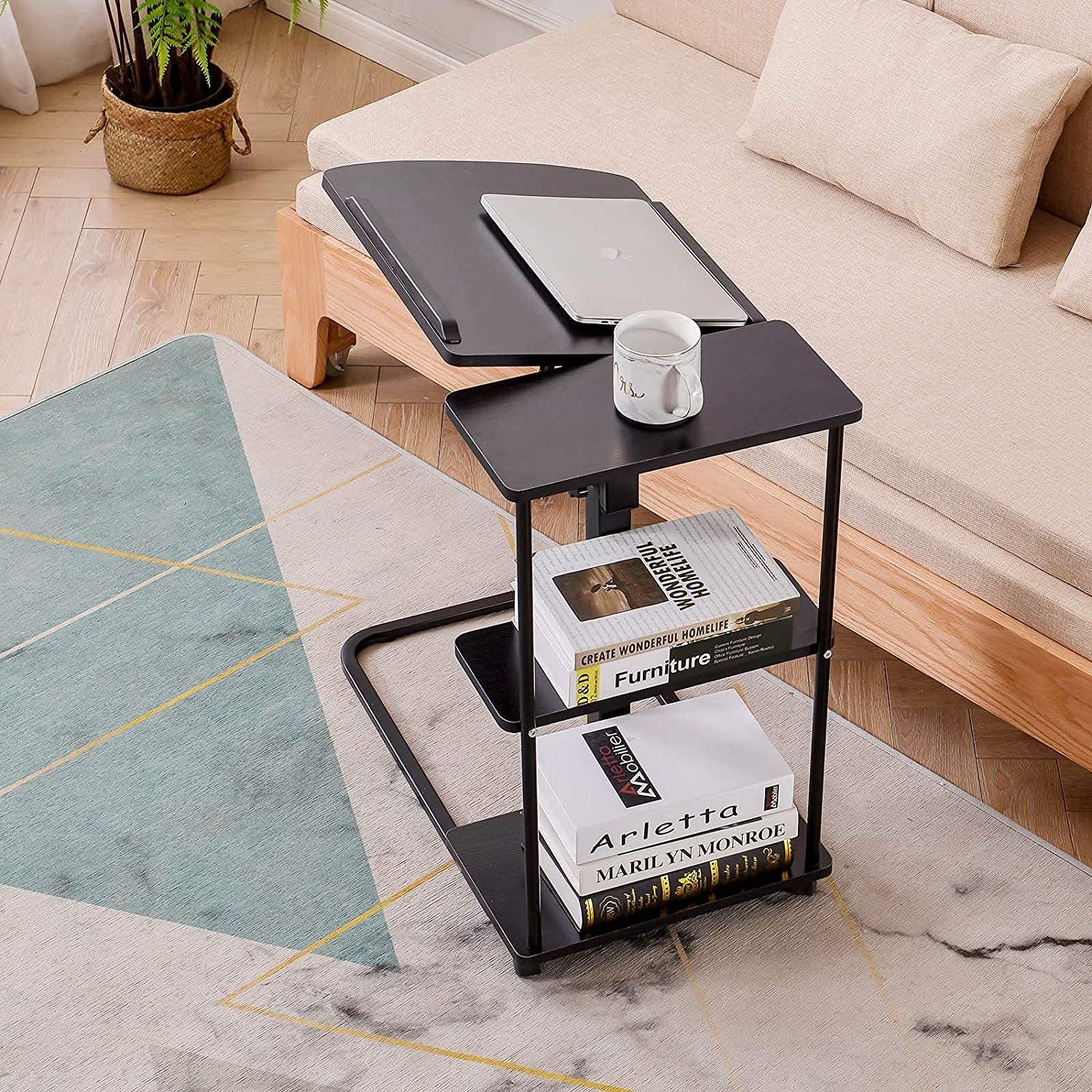 Natwind C-Shaped End Table with Storage Shelves Side Table on Wheels Height Adjustable Couch Table with Storage End Tables for Small Spaces Mobile Sofa Storage Table (Black)