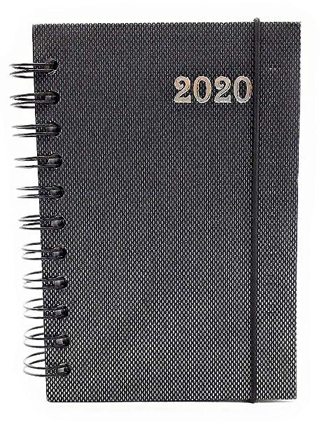 Lagom - Agenda diaria 2020 en espiral, 12 meses, formato de bolsillo, 10 x 15 cm, color ANTRACITE JACQUARD