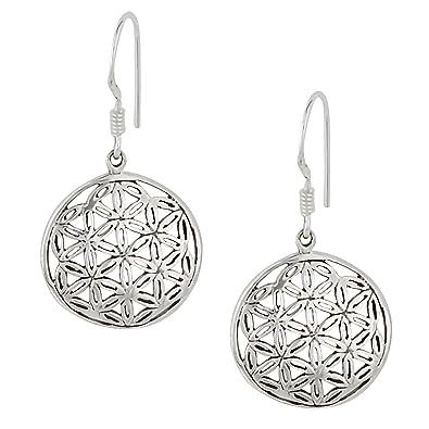 Silverly Femmes Argent 925 Fleur de Vie sacrée géométrique ronde Boucle  d oreille simples Pendants 91e54d6ca5f