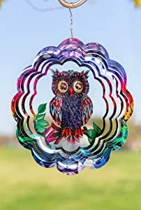 VP Home Kinetic 3D Metal Outdoor Garden Decor Wind Spinner (Mystical Owl)