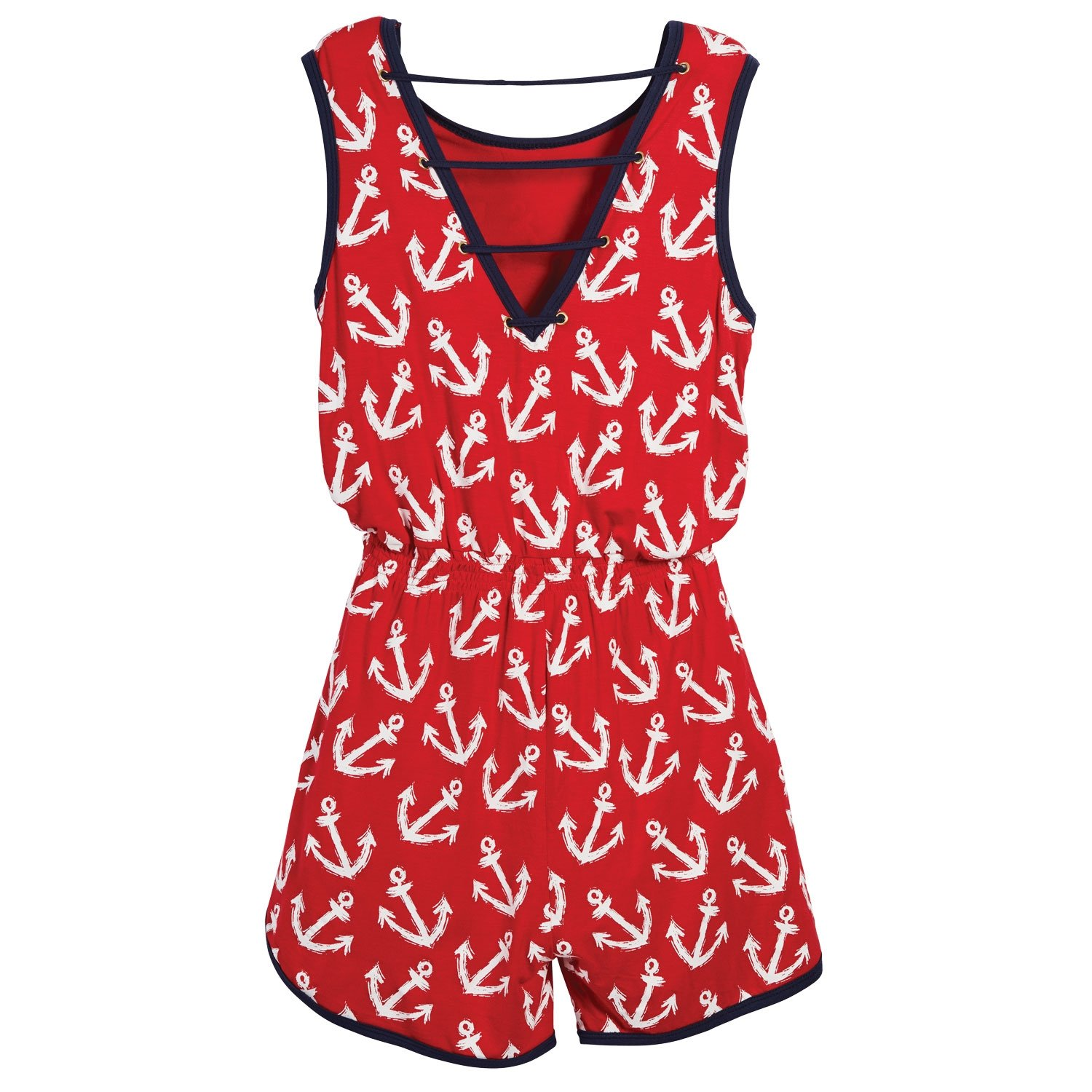Beachcombers Girl's Tops Rayon/Spandex Anchor Romper Red/White Large by Beachcombers (Image #2)