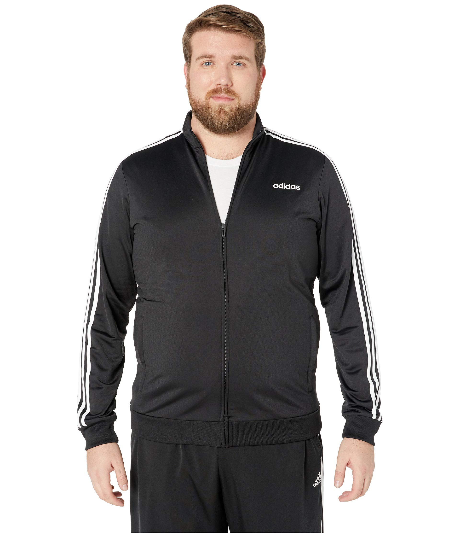 adidas Essentials Men's 3-Stripes Tricot Track Jacket, Black/White, Large/Tall by adidas