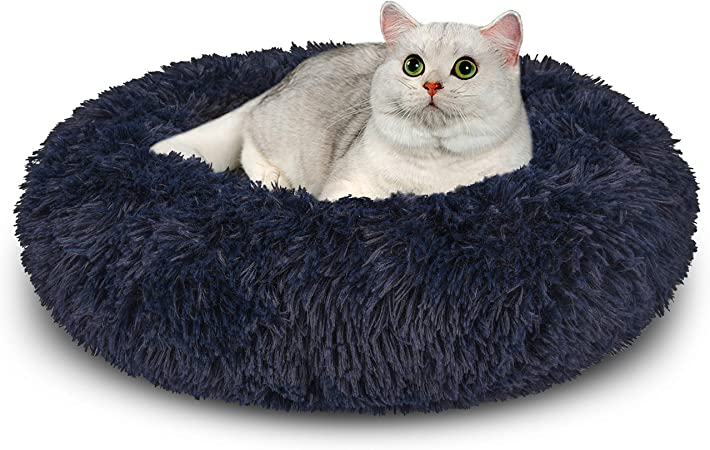 Pet Bed for Cats and Small Dogs Comfortable Soft Plush Donut Cuddler Round Dog Cat House Kennel Washable Cushion Khaki, S