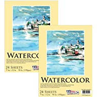 "U.S. Art Supply 9"" x 12"" Premium Extra Heavy-Weight Watercolor Painting Paper Pad, 90 Pound (190gsm), Pad of 24-Sheets (Pack of 2 Pads)"