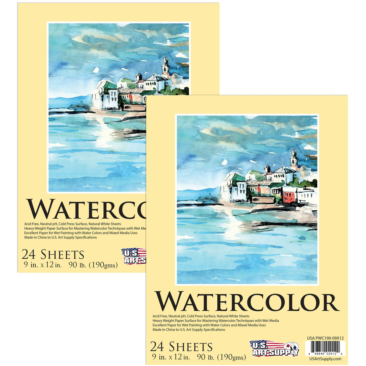 U.S. Art Supply 9'' x 12'' Premium Extra Heavy-Weight Watercolor Painting Paper Pad, 90 Pound (190gsm), Pad of 24-Sheets (Pack of 2 Pads)