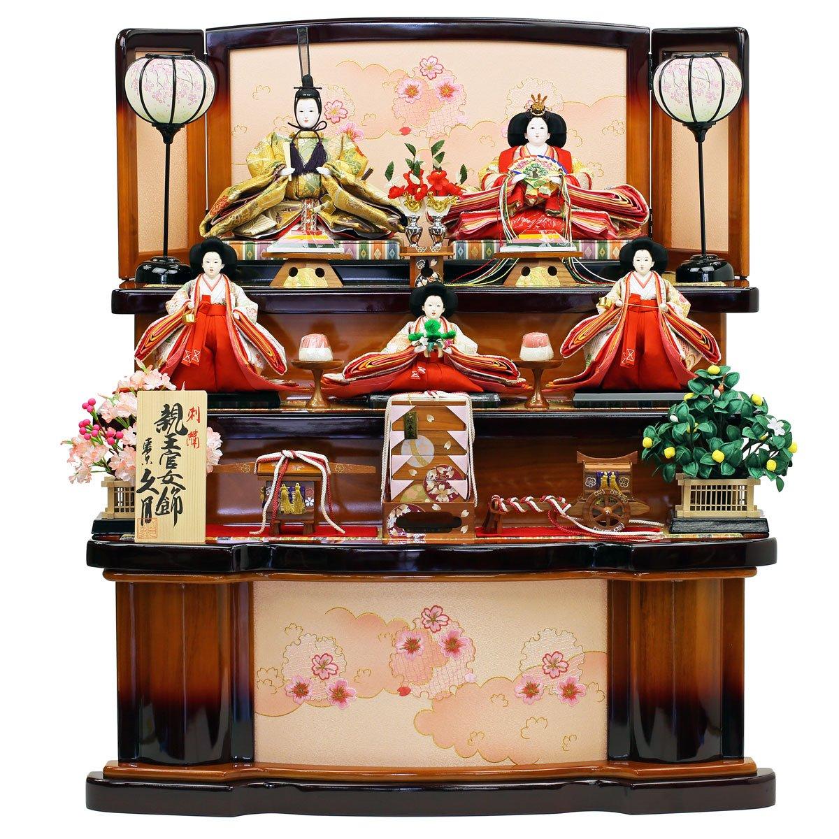雛人形 ひな人形 久月 人形の久月 限定オリジナル 三段飾り 五人飾り 十二単雛人形 「久月 親王官女飾り」 ひな祭り 初節句   B01ARBQKQ4