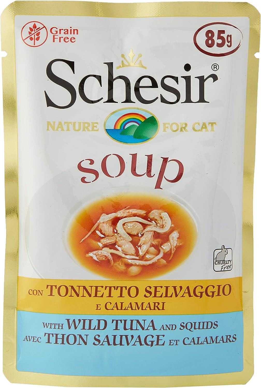Schesir, Comida húmeda para Gatos Adultos, Sabor bacoreta Salvaje y camarones en filetes en Salsa - totale 1,7 kg (20 Sobres x 85 gr)