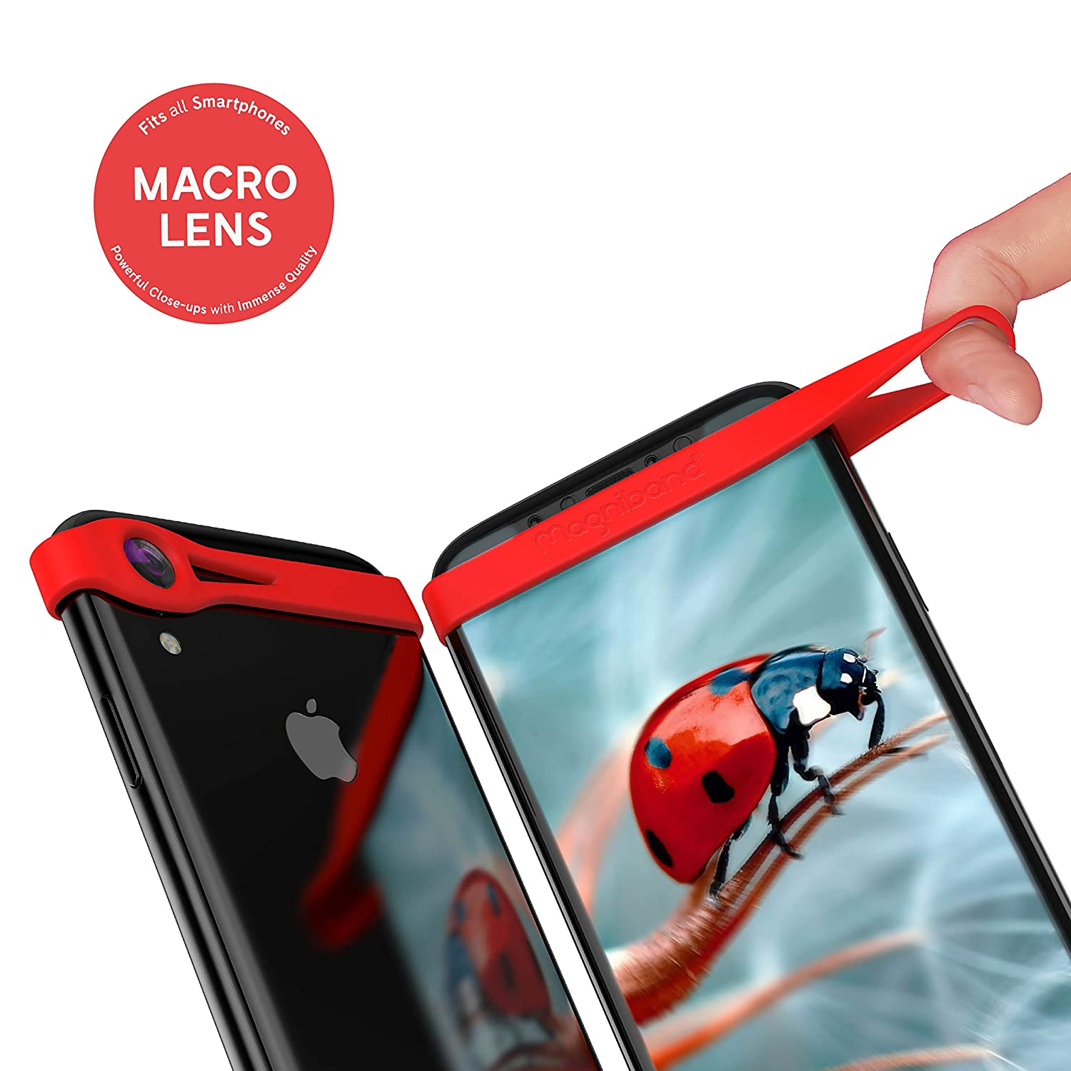 Red 5c 6 MAGNIBAND Macro Lens Band For iPhones 4 5 4s 6 Plus and Most Other Smartphones. 5s