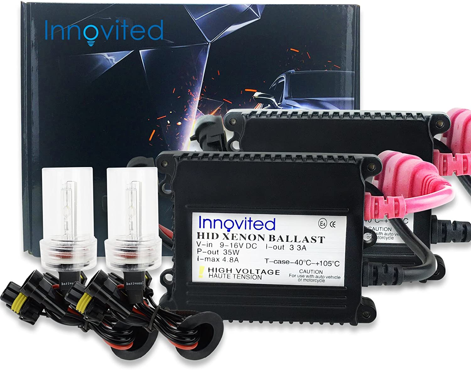 Deep Blue Innovited DC 35W Xenon HID Lights KitAll Bulb Sizes and Colors with Premium Slim Ballast H1-30000K 2 Year Warranty