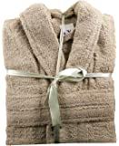 100% Cotton Terry Towelling Shawl Collar Bathrobe + Matching Belt - BEIGE