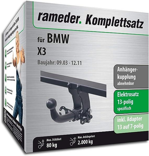 Rameder Komplettsatz Anhängerkupplung Abnehmbar 13pol Elektrik Für Bmw X3 113233 05085 1 Auto