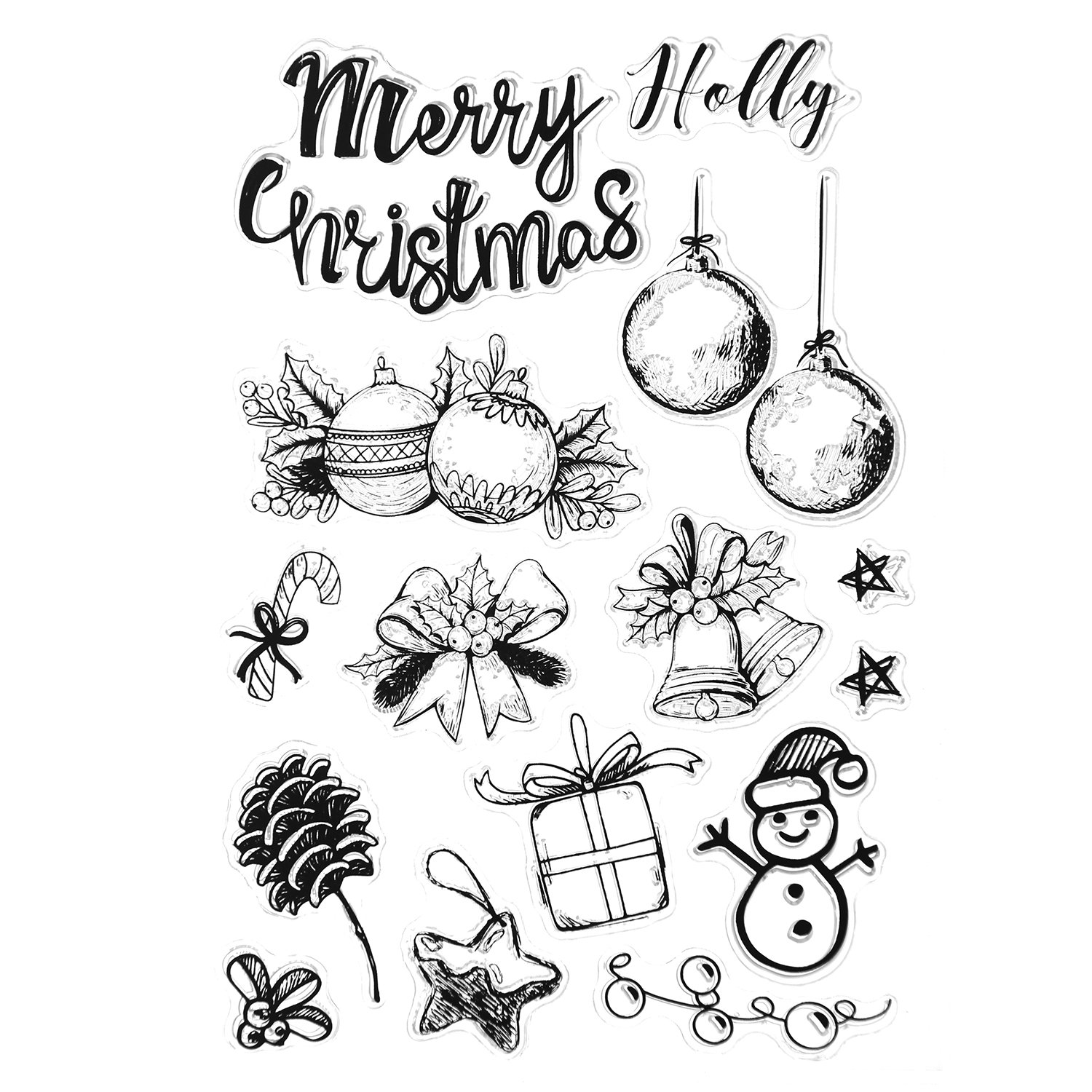 Christmas Stamps, Holody 4 Pack Rubber Clear Stamps Set for Card ...