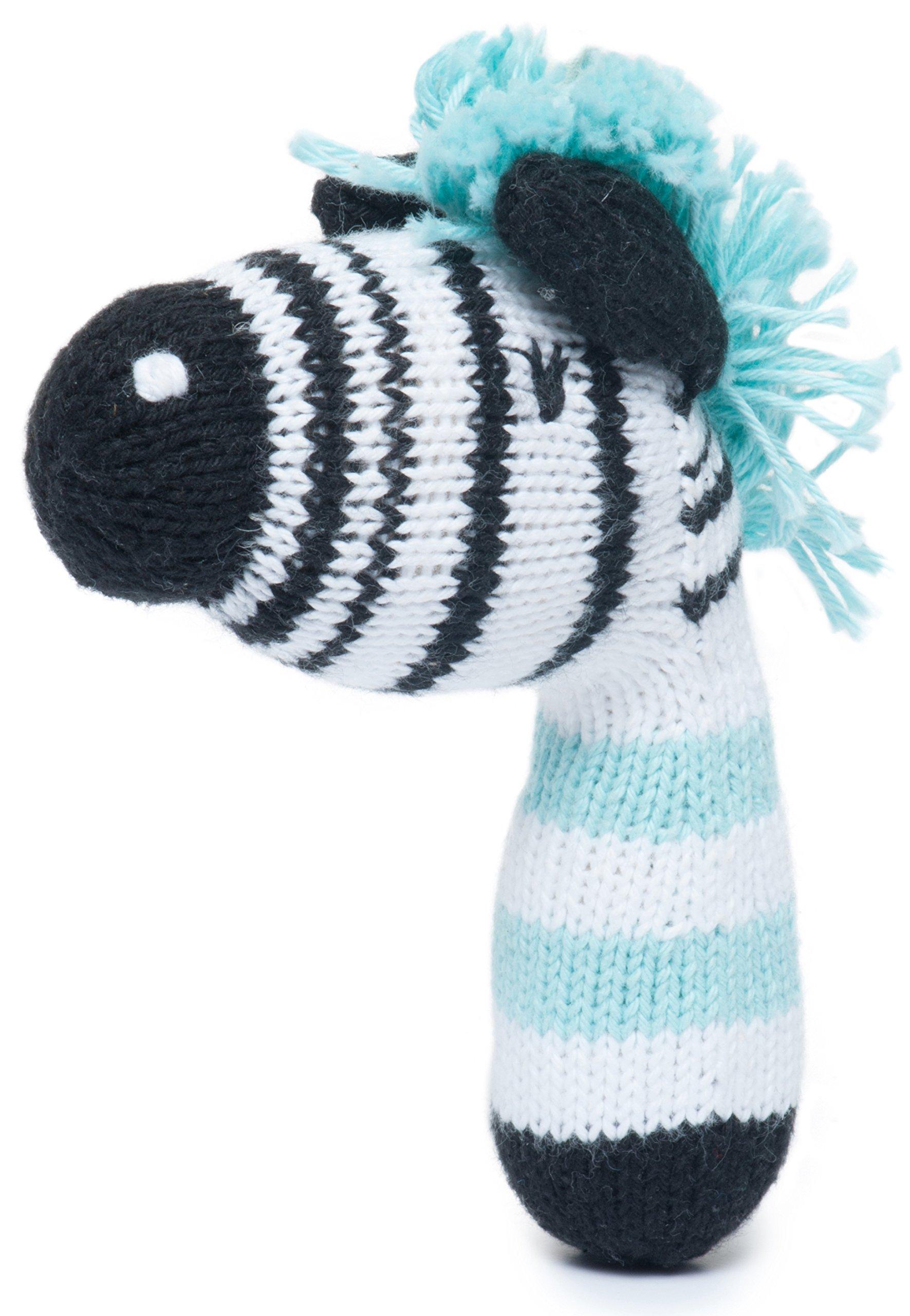 Finn + Emma Mini Rattle Organic Cotton Knit Rattle for Baby Boy Or Girl – Daisy The Zebra