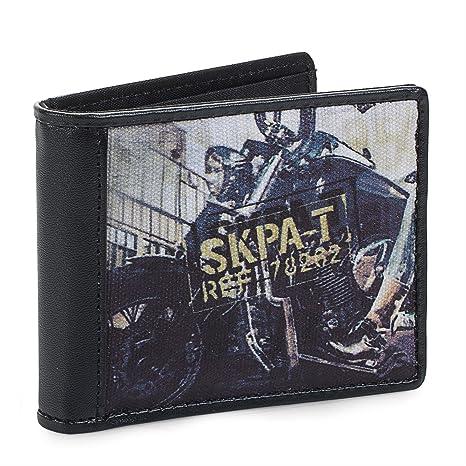 SKPAT - Cartera Monedero Billetero Tarjetero Caballero. Portamonedas. 7 Compartimentos Tarjetas y documentación y 1 para Billetes. Lona Estampada y ...