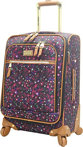 Steve Madden Designer Luggage Collection – Lightweight Softside Expandable Suitcase for Men Women – Durable 20 Inch Carry On Bag with 4-Rolling Spinner Wheels Dark Purple