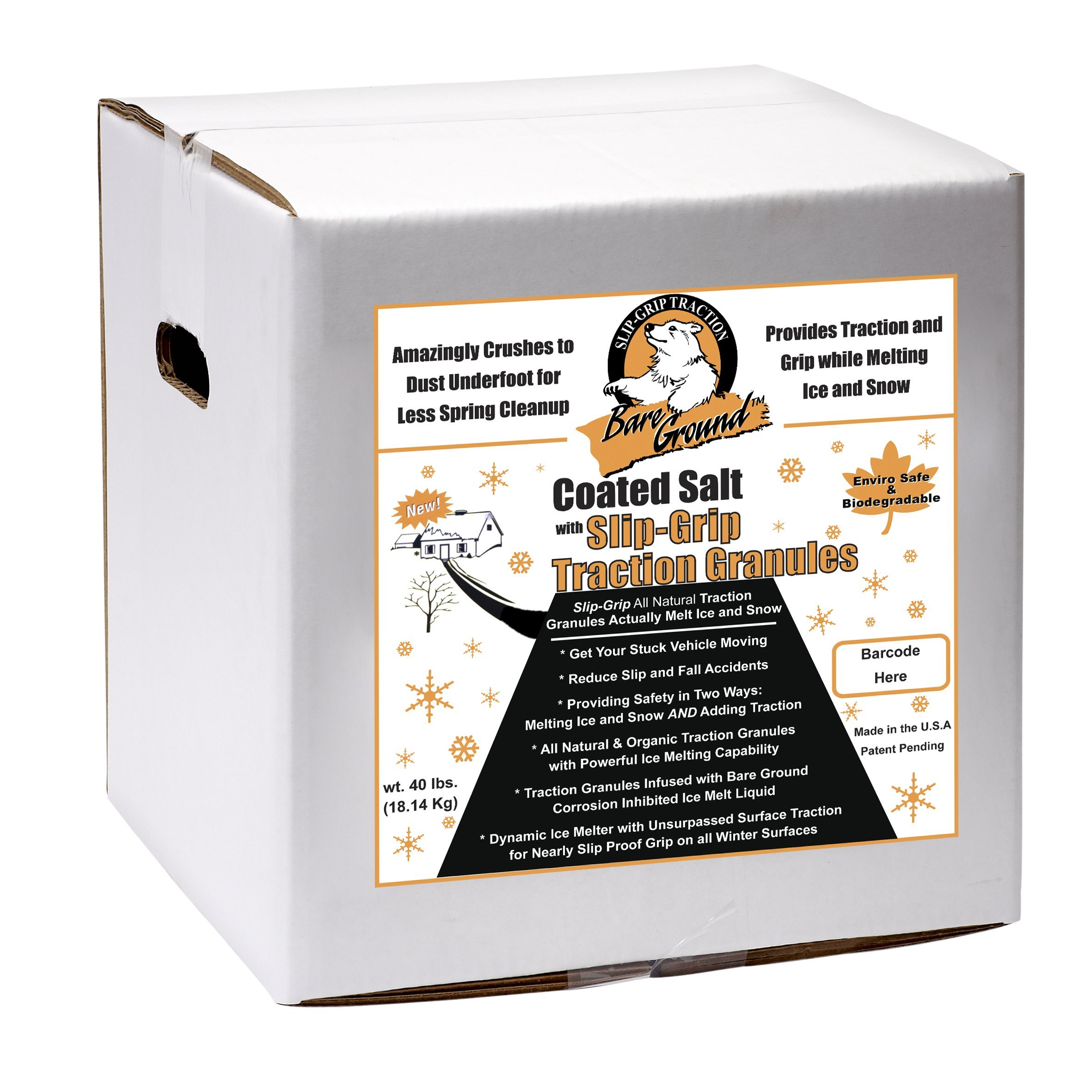 Bare Ground CSSLGP-40 Premium Coated Granular Ice Melt with Slipgrip Traction Granules, 40 lbs