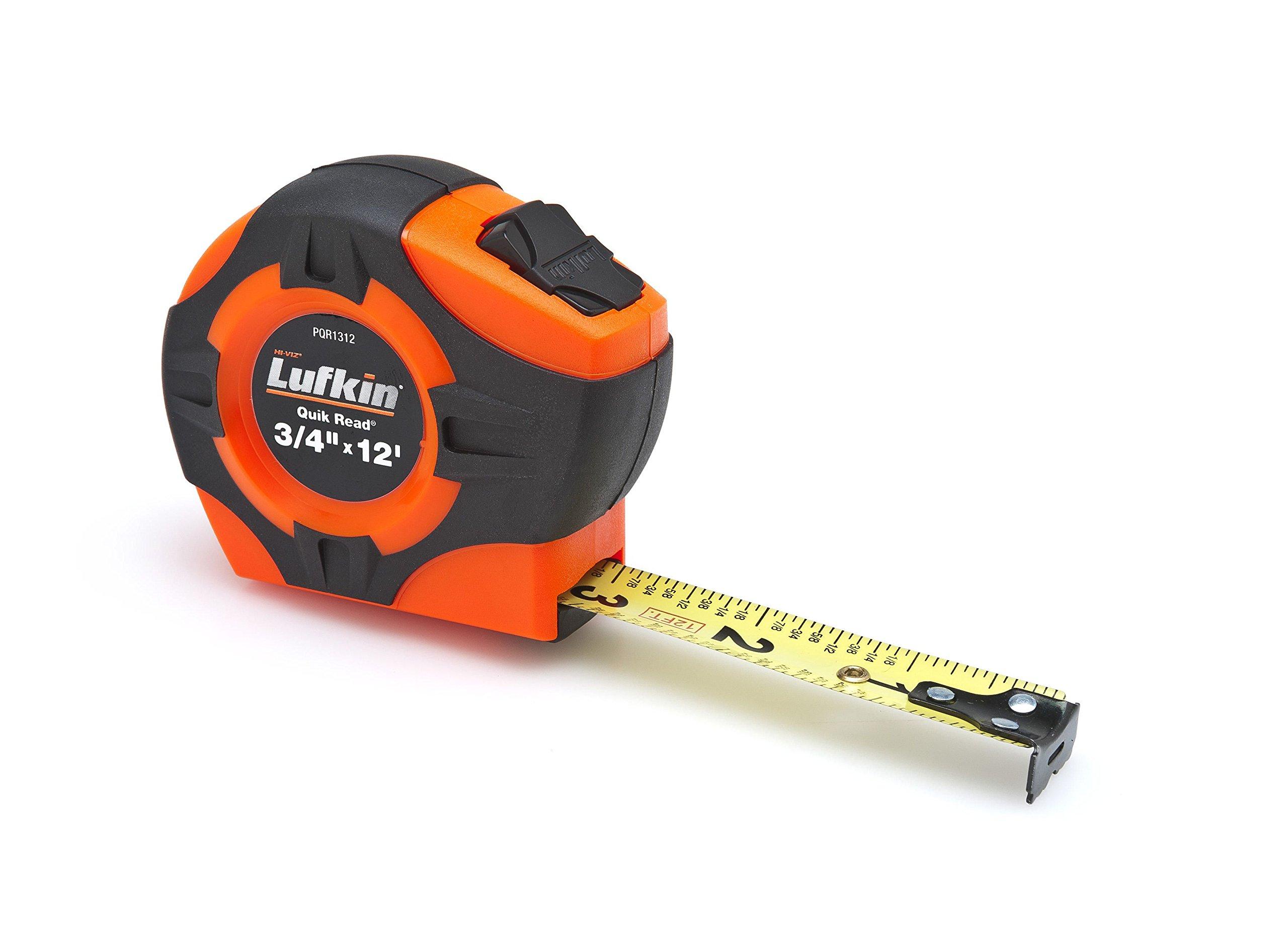 Lufkin PQR1312 Quickread Power Return Tape, 3/4-Inch by 12-Feet, Hi-Viz Orange