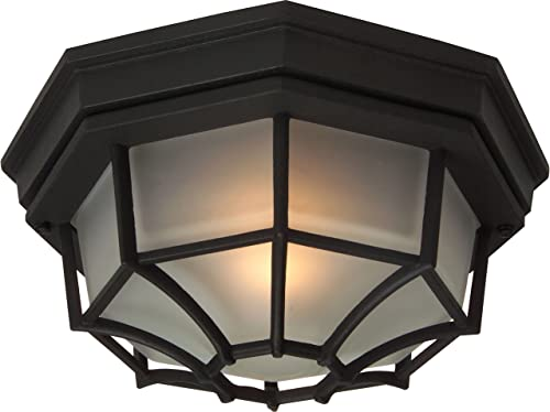 Craftmade Z389-TB Bulkhead Outdoor Octagonal Flush Mount Ceiling Lighting, 1-Light, 100 Watts, Textured Matte Black 11 W x 5 H